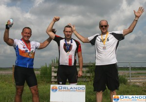 Podium for Eddy Merckx class.  1st:  Tom McNeill, 2nd: Chuck Peabody, 3rd:  Crockett Bohannon