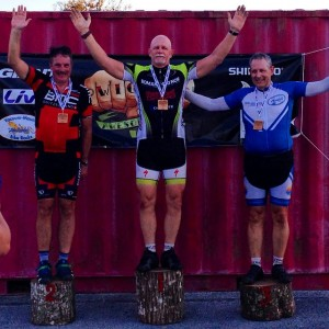My first time on a cycling podium.  Third place in the Mountain Bike division at WAR #2 on Saturday