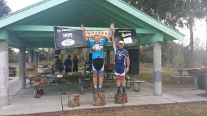 Standing on the MTB series podium for my first time ever winning a series. Second place CLint Gibbs had already left.