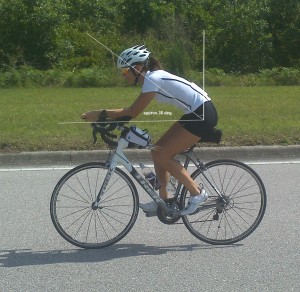 Angie on a road bike with aero bars